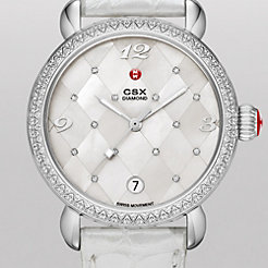 CSX Diamond, Quilted Mosaic Diamond Dial Silver Alligator Watch