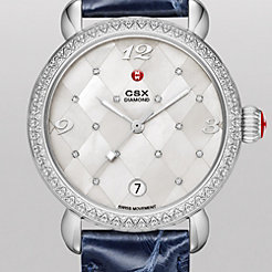 CSX Diamond, Quilted Mosaic Diamond Dial Navy Alligator Watch