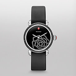 CSX Jardin Diamond Noir, Black Diamond Dial Black Satin Watch