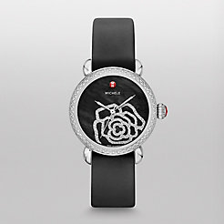 CSX Jardin Diamond, Black Diamond Dial Black Satin Watch