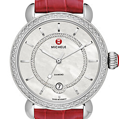 CSX Elegance Diamond, Diamond Dial Garnet Alligator Watch