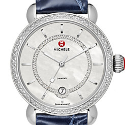 CSX Elegance Diamond, Diamond Dial Navy Alligator Watch