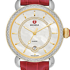 CSX Elegance Diamond Two-Tone, Diamond Dial Garnet Alligator Watch