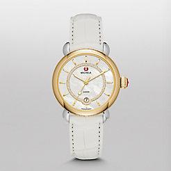 CSX Elegance Two Tone Gold, Diamond Dial White Alligator Watch