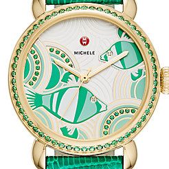 Seaside Topaz Gold, Fish Diamond Dial Watch Limited Edition Of 305