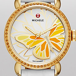 Garden Party Topaz Gold Yellow, Diamond Butterfly White Alligator Watch