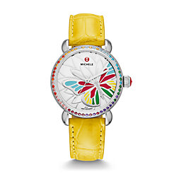 Garden Party Topaz Multi, Diamond Butterfly Daffodil Alligator Watch