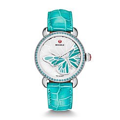 Garden Party Topaz Turquoise, Diamond Butterfly Aqua Alligator Watch