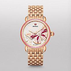 Garden Party Topaz Rose Gold Pink, Diamond Butterfly Watch