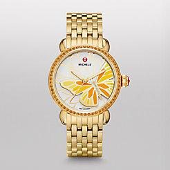 Garden Party Topaz Gold Yellow, Diamond Butterfly Watch