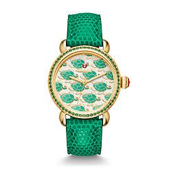 Exotic Creatures Topaz Gold, Turtle Diamond Dial Emerald Lizard Watch