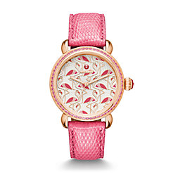 Exotic Creatures Topaz Rose Gold, Flamingo Diamond Dial Coral Lizard Watch