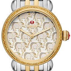 Exotic Creatures Topaz Two-Tone, Elephant Diamond Dial Watch