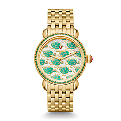 Exotic Creatures Topaz Gold, Turtle Diamond Dial Watch