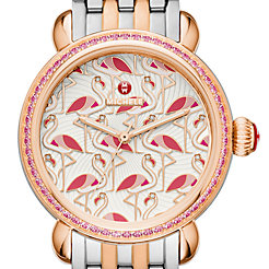 Exotic Creatures Topaz Rose Gold, Flamingo Diamond Dial Watch