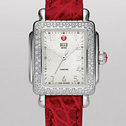 Deco Mini Diamond Garnet Alligator Watch