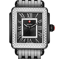 Deco Madison Mid Noir Ceramic Diamond Watch