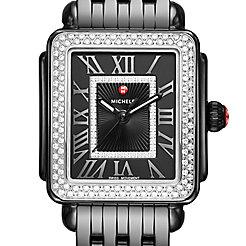 Deco Madison Mid Noir Ceramic Diamond Watch