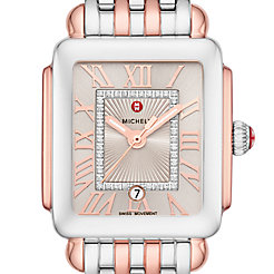 Deco Madison Mid Two-Tone Pink Gold Diamond Dial Watch