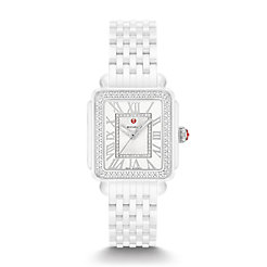 Deco Madison Mid White Ceramic Diamond Watch