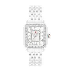 Deco Madison Mid White Ceramic Diamond Watch