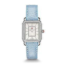 Deco II Mid-size Diamond, Diamond Dial Blue Lizard Watch
