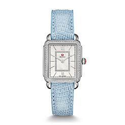 Deco II Mid-size Diamond, Diamond Dial Blue Lizard Watch
