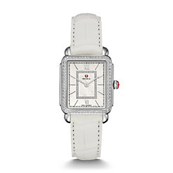 Deco II Mid-size Diamond, Diamond Dial White Alligator Watch