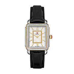 Deco II Mid-size Diamond Two-tone, Diamond Dial Black Alligator Watch