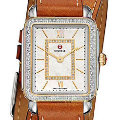Deco II Mid-size Diamond Two-tone, Diamond Dial Saddle Calfskin Double Wrap Watch