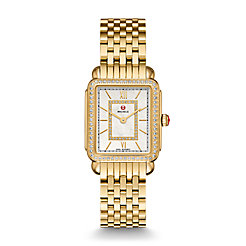 Deco II Mid-size Diamond Gold, Diamond Dial Watch