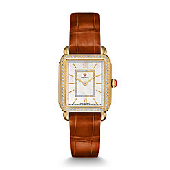 Deco II Mid-size Diamond Gold, Diamond Dial Coffee Alligator Watch