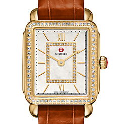 Deco II Mid-size Diamond Gold, Diamond Dial Coffee Alligator Watch