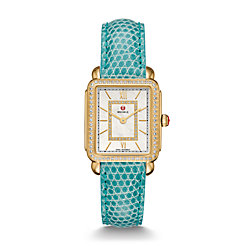 Deco II Mid-size Diamond Gold, Diamond Dial Green Lizard Watch