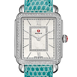 Deco II Mid-size Diamond, Diamond Dial Green Lizard Watch