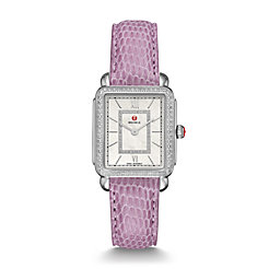Deco II Mid-size Diamond, Diamond Dial Lilac Lizard Watch