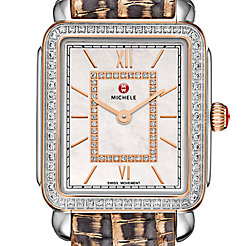 Deco II Mid Diamond Two-Tone Rose Gold, Diamond Dial Multi Lizard Watch
