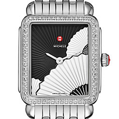 Deco II Mid Diamond, Fan Dial Watch