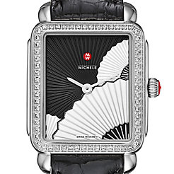 Deco II Mid Diamond, Fan Dial Black Alligator Watch