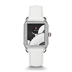 Deco II Mid Diamond, Fan Dial White Leather Watch