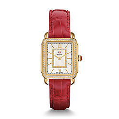 Deco II Mid-size Diamond Gold, Garnet Alligator Watch
