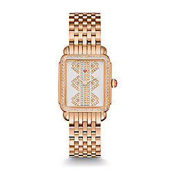 Deco ll Mid Rose Gold, Pattern Diamond Dial Watch