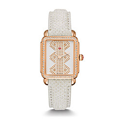 Deco ll Mid Rose Gold, Pattern Diamond Dial Snowflake Snakeskin Strap