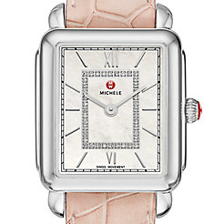Deco II Mid Stainless Steel Diamond Watch On Blush Alligator Strap