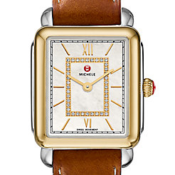 Deco II Mid Two-Tone Diamond Watch On Saddle Calf Strap
