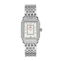 Deco II Mid Diamond Dial Watch On Diamond Taper Stainless Steel 7-link Bracelet