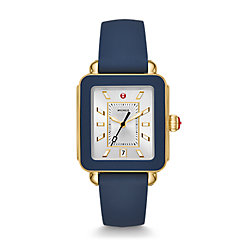 Deco Sport Gold Tone and Navy Silicone Watch