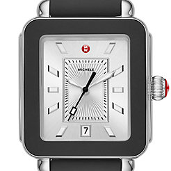 Deco Sport Stainless-Steel and Black Silicone Watch