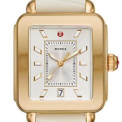 Deco Sport Gold Tone- Vanilla Embossed Silicone Watch