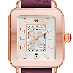 Deco Sport Pink Gold-Tone Plum Embossed Silicone Watch